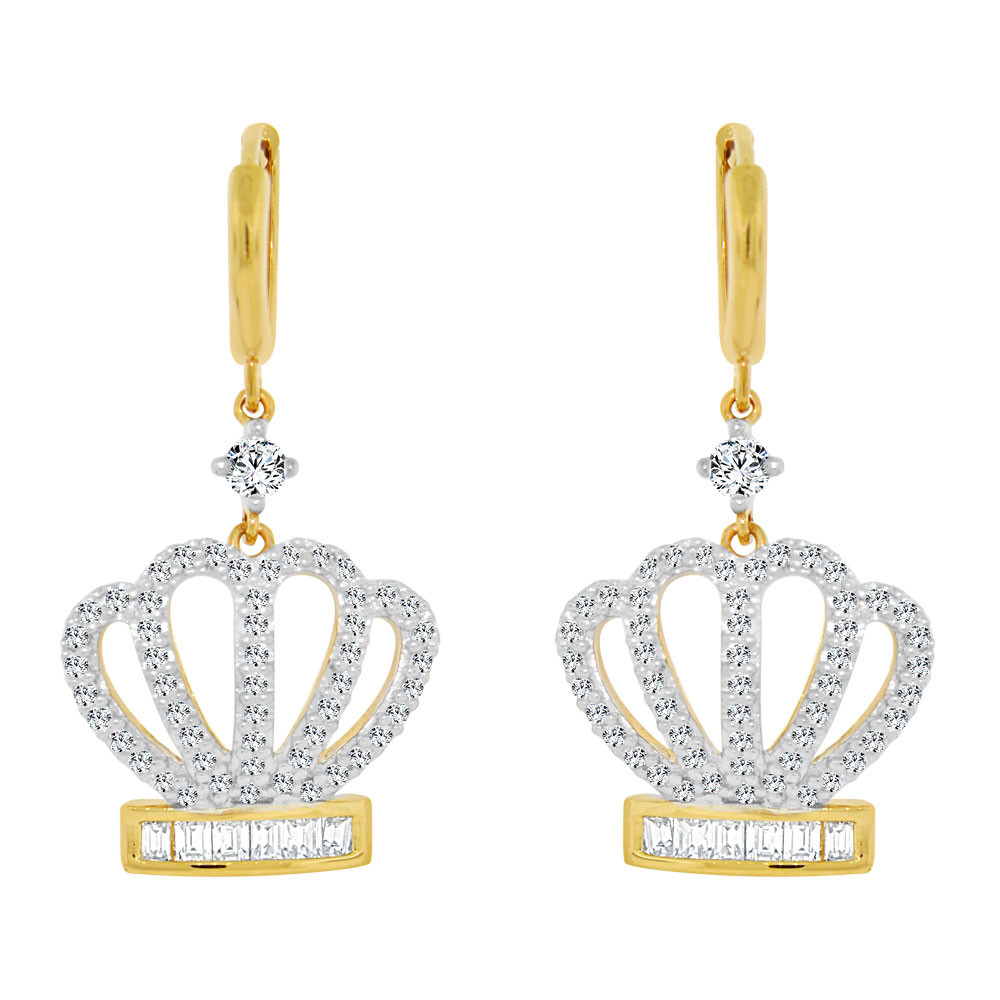 Modern Bead Design Drop Earring Created CZ Crystals 14k Gold White Rhodium