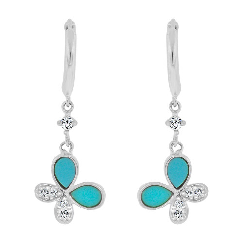 14k Gold White Rhodium, Enamel Resin Butterfly Drop Earring Created CZ Crystals (E005-072)