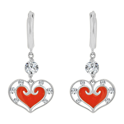14k Gold White Rhodium, Red Heart Enamel Resin Drop Earring Created CZ Crystals (E005-073)