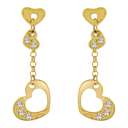14k Yellow Gold, Small & Dainty Heart  Drop Earring Created CZ Crystals (E006-005)