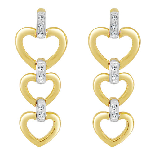 14k Yellow Gold White Rhodium, Three Heart Drop Earring Created CZ Crystals (E006-009)