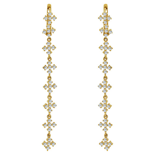 14k Yellow Gold, Long Drop Mini Crosses Earring Created CZ Crystals (E006-011)