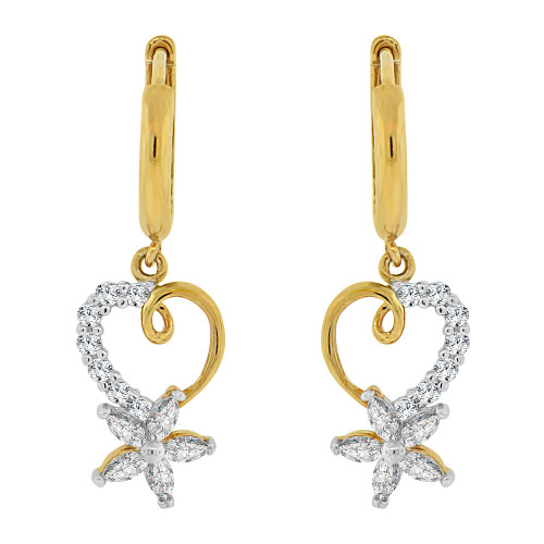 14k Yellow Gold White Rhodium, Small Heart & Flower Drop Earring Created CZ Crystals (E006-015)