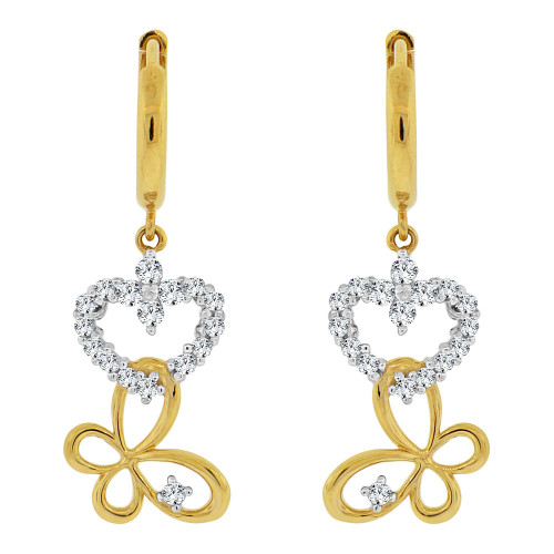 14k Yellow Gold, Small Heart & Butterfly  Drop Earring Created CZ Crystals (E006-016)