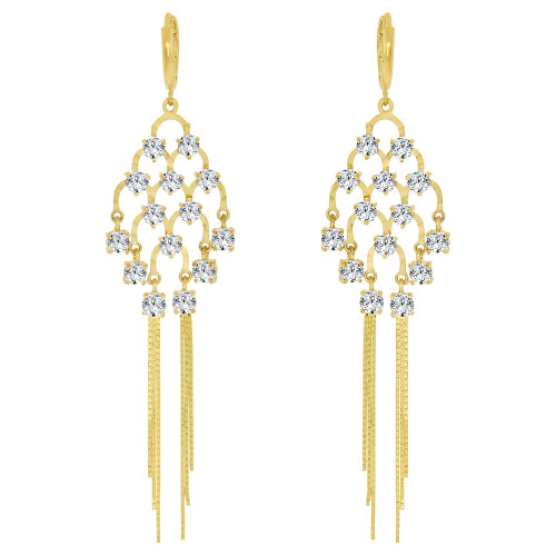 14k Yellow Gold, Classic & Bold Chandelier  Drop Earring Created CZ Crystals (E006-020)