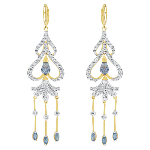 14k Yellow Gold, Large Fancy Chandelier  Drop Earring Created CZ Crystals (E006-023)