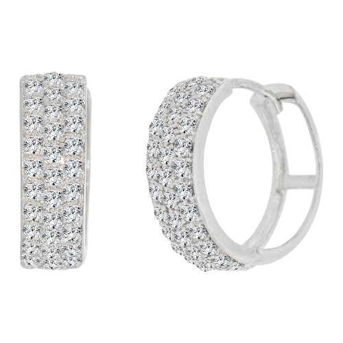 14k Gold White Rhodium, Classic Small Hoop Huggies Earring Brilliant Created CZ Crystals (E006-051)