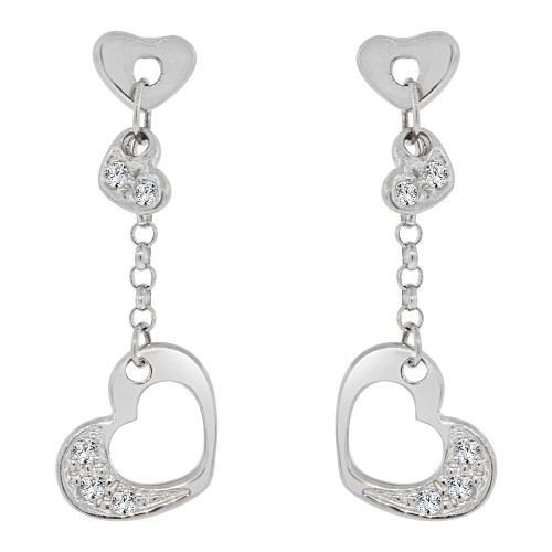 14k Gold White Rhodium, Small & Dainty Heart  Drop Earring Created CZ Crystals (E006-055)