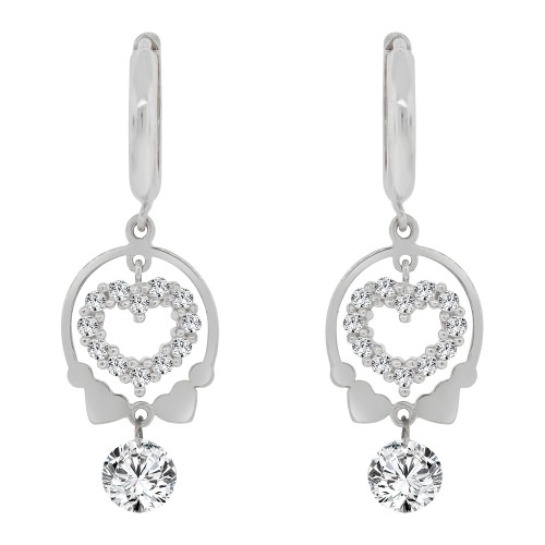 14k Gold White Rhodium, Small Heart  Drop Earring Created CZ Crystals (E006-057)