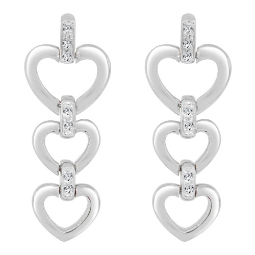 14k Gold White Rhodium, Three Heart Drop Earring Created CZ Crystals (E006-059)