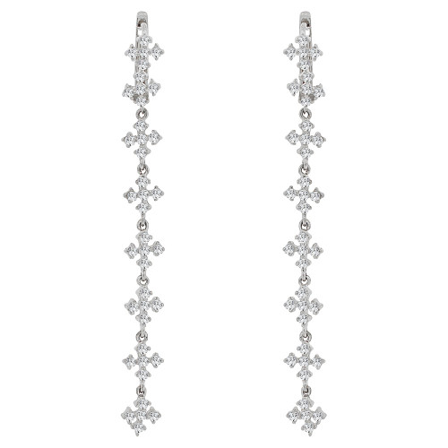 14k Gold White Rhodium, Long Drop Mini Crosses Earring Created CZ Crystals (E006-061)