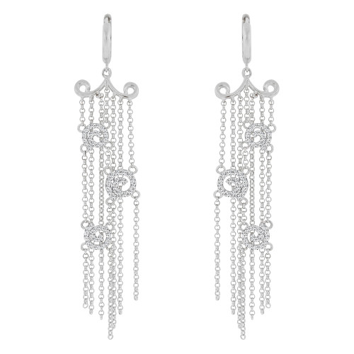 14k Gold White Rhodium, Fancy Chandelier Drop Multi Strand Earring Created CZ Crystals (E006-063)