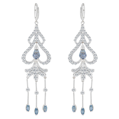 14k Gold White Rhodium, Large Fancy Chandelier  Drop Earring Created CZ Crystals (E006-073)