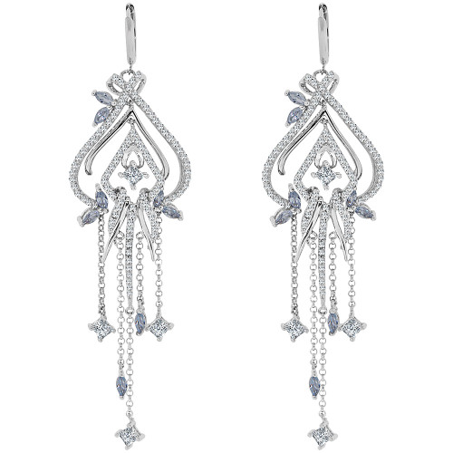 14k Gold White Rhodium, Large Fancy Chandelier  Drop Earring Created CZ Crystals (E006-074)