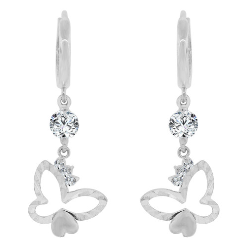 14k Gold White Rhodium, Butterfly & Heart Drop Earring Created CZ Crystals (E007-053)