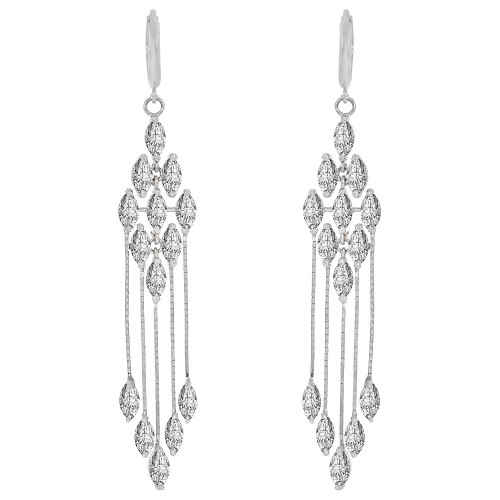 14k Gold White Rhodium, Fancy Chandelier Drop Earring Created CZ Crystals (E007-061)