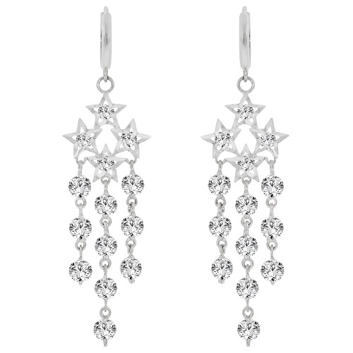 14k Gold White Rhodium, Sparkly Star Cluster Chandelier Earring Created CZ Crystals (E007-072)