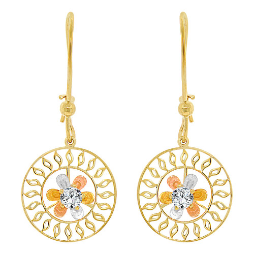 14k Yellow Gold, Tricolor Accented Modern Flower Drop Earring (E007-012)
