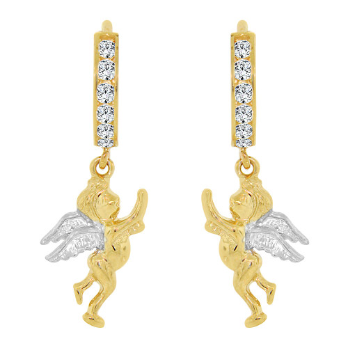 14k Yellow Gold White Rhodium, Angel Drop Earring Created CZ Crystals (E008-002)
