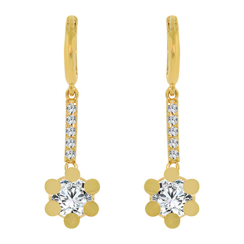 14k Yellow Gold, Flower Drop Earring Created CZ Crystals (E008-009)