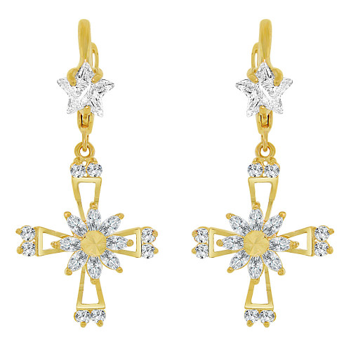 14k Yellow Gold, Cross Religious Drop Earring Created CZ Crystals (E008-023)
