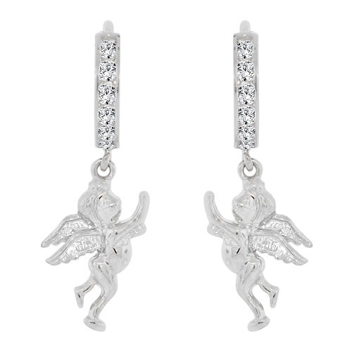 14k Gold White Rhodium, Angel Drop Earring Created CZ Crystals (E008-052)