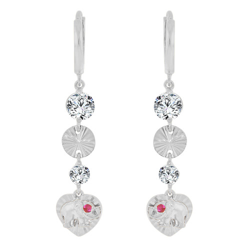 14k Gold White Rhodium, Lucky Elephant Heart Drop Fancy Earring Created CZ Crystals (E008-055)