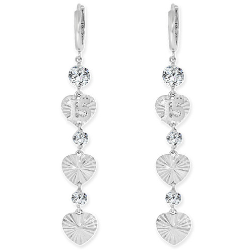 14k Gold White Rhodium, 15 Anos Quinceanera Heart Drop Fancy Earring Created CZ Crystals (E008-056)