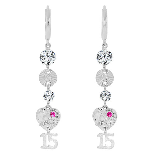 14k Gold White Rhodium, Lucky Elephant 15 Anos Quinceanera Heart Drop Earring Created CZ Crystals (E008-058)