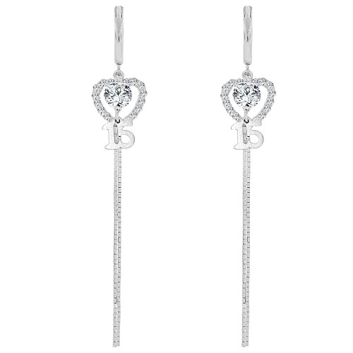 14k Gold White Rhodium, Heart 15 Anos Quinceanera Drop Earring Created CZ Crystals (E008-060)