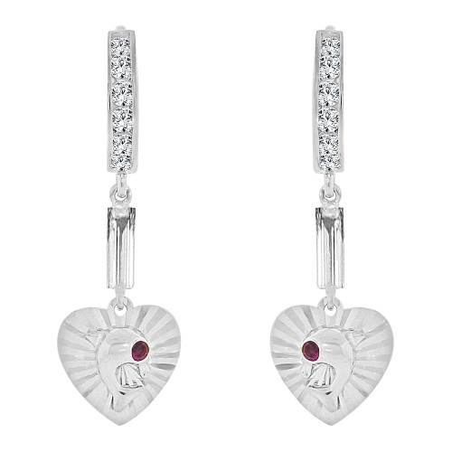 14k Gold White Rhodium, Jumping Dolphin Heart Drop Earrings (E008-061)