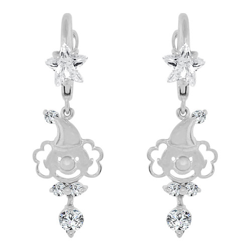 14k Gold White Rhodium, Circus Clown Drop Earring Created CZ Crystals (E008-062)