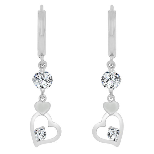 14k Gold White Rhodium, Hearts Drop Earring Created CZ Crystals (E008-071)
