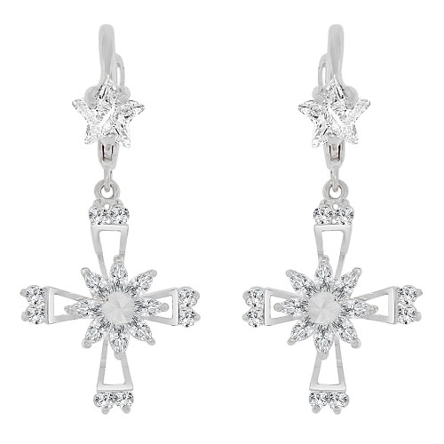 14k Gold White Rhodium, Cross Religious Drop Earring Created CZ Crystals (E008-073)