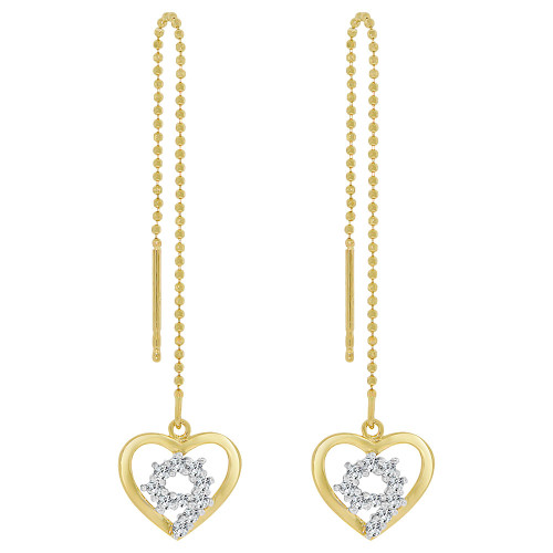 14k Yellow Gold White Rhodium, Heart Threader Drop Earring Created CZ Crystals (E009-001)