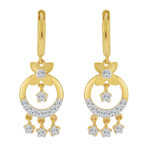 14k Yellow Gold White Rhodium, Flowers & Circles Earring Brilliant Created CZ Crystals (E009-005)
