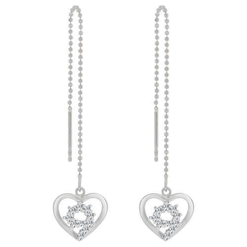 14k Gold White Rhodium, Heart Threader Drop Earring Created CZ Crystals (E009-051)