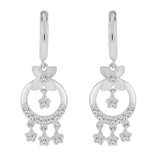 14k Gold White Rhodium, Flowers & Circles Earring Brilliant Created CZ Crystals (E009-055)