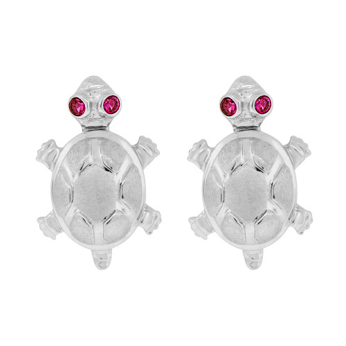 14k Gold White Rhodium, Turtle Tortoise Stud Earring Created CZ Crystals (E009-057)