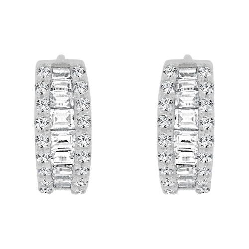 14k Gold White Rhodium, Mini Hoop Huggies Earring Created CZ Crystals (E009-065)