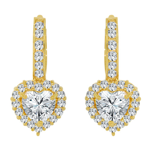 14k Yellow Gold, Classic Small Heart Huggies Clasp Earring Created CZ Crystals (E009-028)