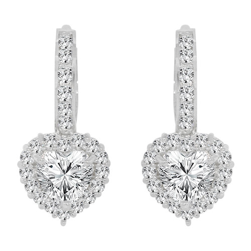 14k Gold White Rhodium, Classic Small Heart Huggies Clasp Earring Created CZ Crystals (E009-078)