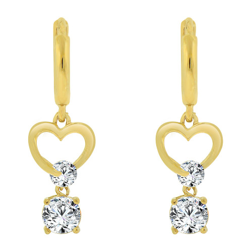 14k Yellow Gold, Small Heart Earring Created CZ Crystals (E011-001)