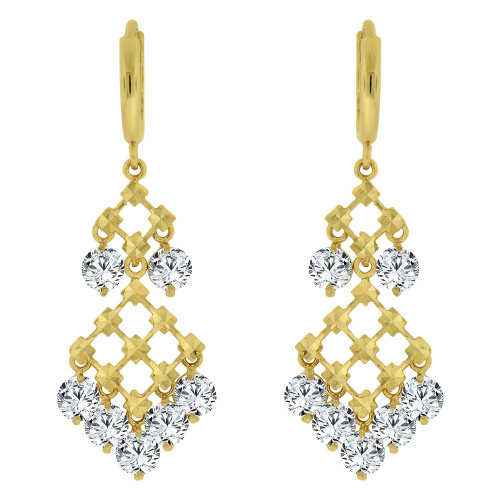 14k Yellow Gold, Fancy Chandelier Drop Earring Created CZ Crystals (E011-004)