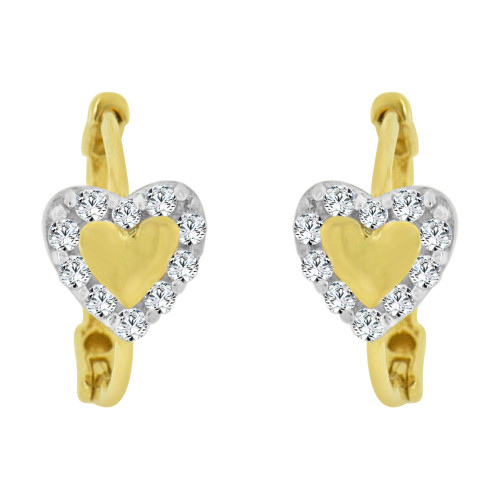 14k Yellow Gold White Rhodium, Mini Hoop Heart Stud Earring Created CZ Crystals (E011-009)