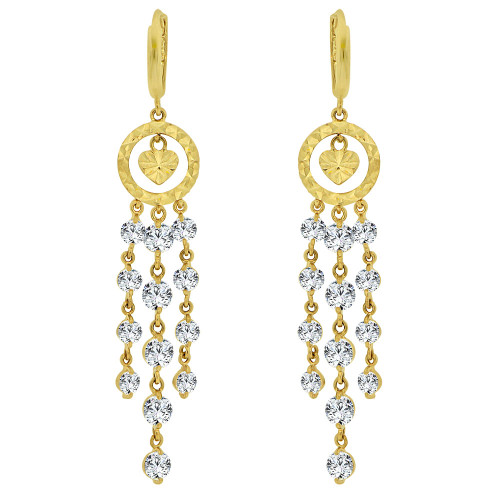 14k Yellow Gold, Fancy Chandelier Drop Earring Created CZ Crystals (E011-010)