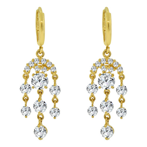 14k Yellow Gold, Chandelier Drop Earring Created CZ Crystals (E011-014)