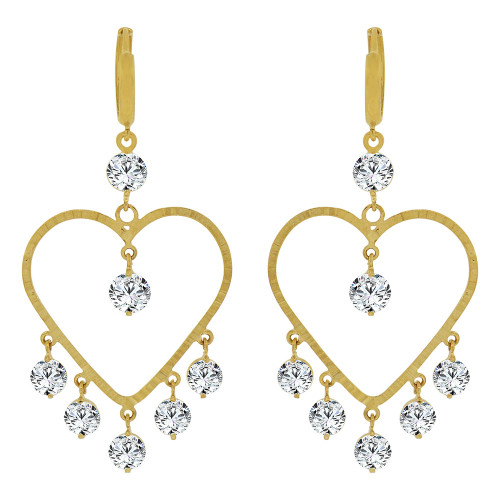 14k Yellow Gold, Bold Heart Chandelier Drop Earring Created CZ Crystals (E011-019)