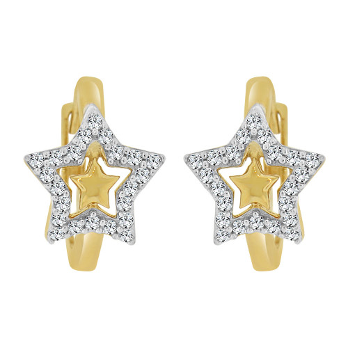 14k Yellow Gold White Rhodium, Small Hoop Star Huggies Earring Created CZ Crystals (E011-027)