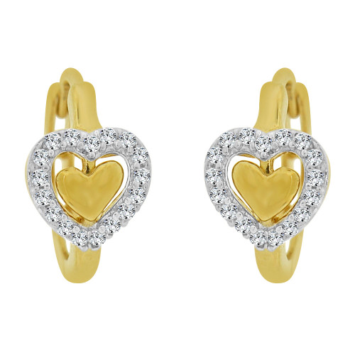14k Yellow Gold White Rhodium, Mini Hoop Heart Huggies Earring Created CZ Crystals (E011-028)